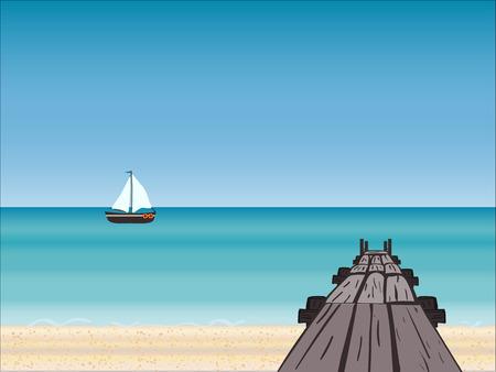 navy pier: Navy pier yacht horizon. Tourism journey on the sea. Cruise. Beach vacation. Vector illustration Illustration