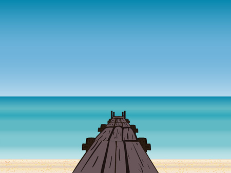pier: Navy pier sea sky horizon. Tourism journey on the sea. Cruise. Beach vacation. Vector illustration Illustration