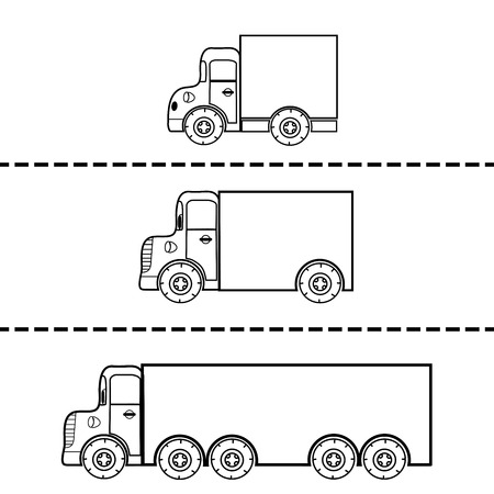 commercial vehicles: Set of cargo trucks vector illustration. The silhouette contour. Transport and freight transport. Commercial vehicles. Vector transport. The figure for painting