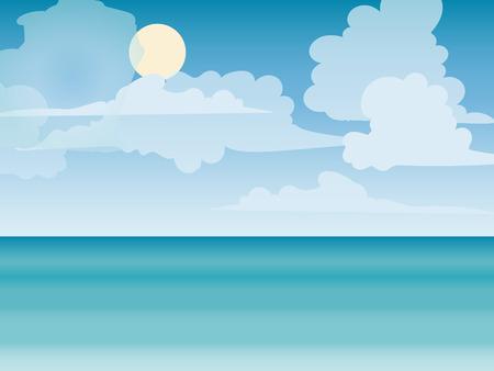 Sea horizon natuur landschap. Toerisme reis op zee. Cruise. Strandvakantie. vector illustratie