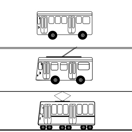 trolleybus: Public transport bus trolleybus tram. Urban transport. Silhouettes for coloring. Symbol sign icon