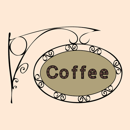 forged: coffee text on vintage street sign Patterned forged street signboard with the text. Vector illustration Illustration