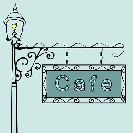 vintage cafe: cafe text on vintage street sign Patterned vintage gas lantern with retro sign. Vector illustration