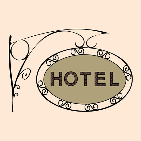 overnight: hotel text on vintage street sign Patterned forged street signboard with the text. Vector illustration