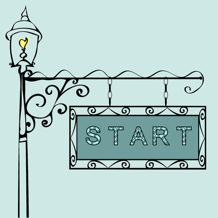 undertaking: start text on vintage street sign Patterned vintage gas lantern with retro sign. Vector illustration