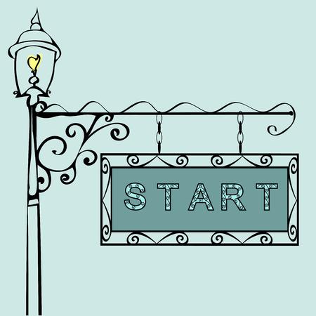 undertaking: start text on vintage street sign Patterned vintage gas lantern with retro sign. Vector illustration