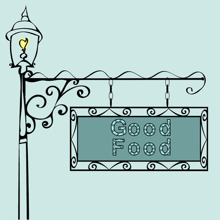 forge: good food text on vintage street sign Patterned vintage gas lantern with retro sign. Vector illustration Illustration