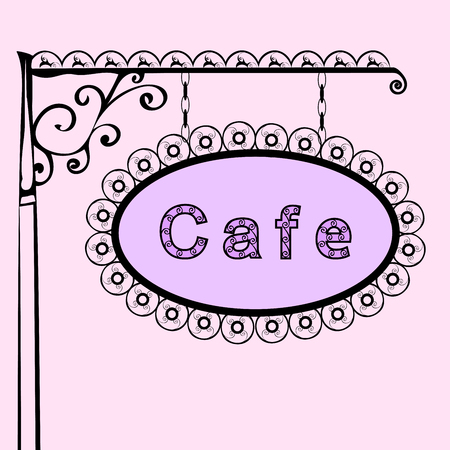 forged: cafe text on vintage street sign Patterned forged street signboard with the text. Vector illustration Illustration