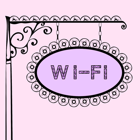 wi fi: Wi Fi text on vintage street sign Patterned forged street signboard with the text. Vector illustration Illustration