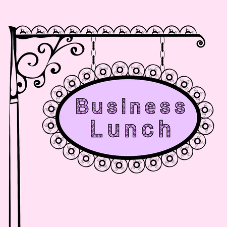pink vintage: business lunch Retro vintage street sign. Vector illustration of the sign. Background with text