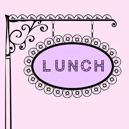 Mittagessen Retro Vintage-Straßenschild. Vektor-Illustration des Zeichens. Hintergrund mit Text