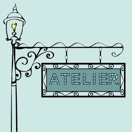 atelier: Atelier Retro vintage street sign. Vector illustration of the sign. Background with text
