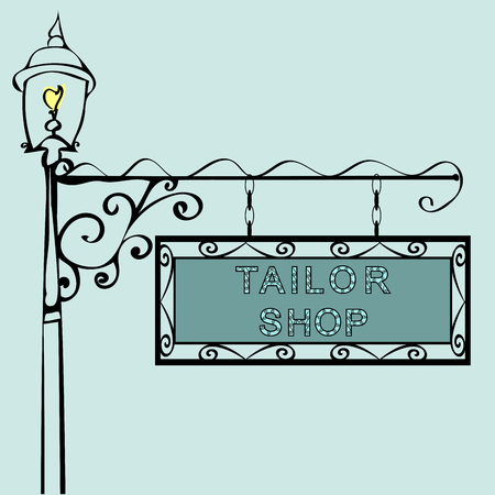 tailor shop: tailor shop Retro vintage street sign. Vector illustration of the sign. Background with text Illustration