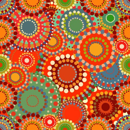 autumn motif: Seamless vintage retro pattern orange textile. Circles and circular patterns. Ethnic motif. Fabric and vector background. Autumn warm Sunny colors Illustration