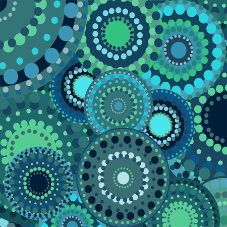 blue circles: vintage circular retro ornament vector background blue. painted multi-colored circles green