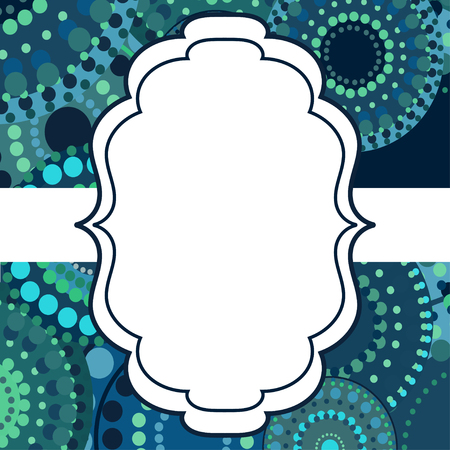blue circles: Patterned frame background invitation circular ornament blue. painted multi-colored green circles. An invitation to holidays and celebrations