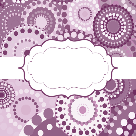 pink vintage: Patterned frame background invitation circular ornament pink. painted multi-colored purple white circles. An invitation to holidays and celebrations