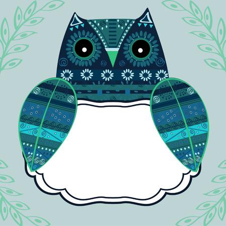 bird of prey: Cute owl with ethnic ornament text box. Animal bird symbol of wisdom. Funny owl. Vector owl. Bird of prey owl. Illustration