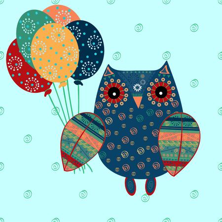bird of prey: Cute owl with ethnic ornament birthday balloons. Animal bird symbol of wisdom. Funny owl. Vector owl. Bird of prey owl.