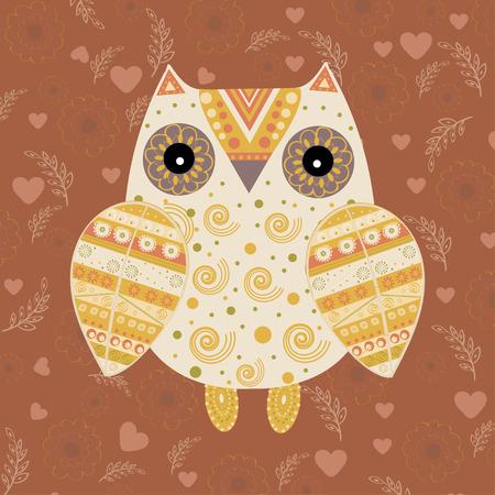 bird of prey: Cute owl with ethnic ornament. Animal bird symbol of wisdom. Funny owl. Vector owl. Bird of prey owl.