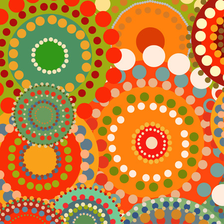 adolescent: Textile color retro background ornament circles. Vintage summer background. Orange and red warm colors. Vector pattern illustration. Sunny background