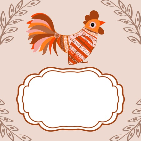 cute text box: Cock bird ethnic pattern. Symbol 2017. New year. Fair and celebration. Fabulous animal.text box. Illustration