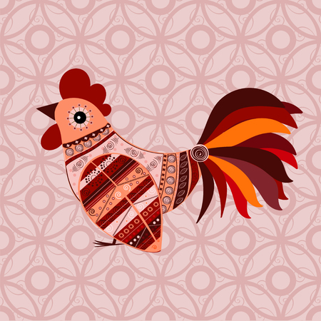 cute text box: Cock bird ethnic pattern. Symbol 2017. New year. Fair and celebration. Fabulous animal