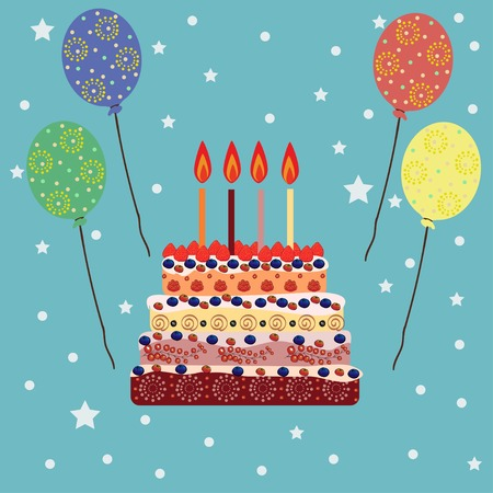 cartoon cake: Birthday cake with four candles. Four years. A cake with candles for his birthday. Holidays and celebrations