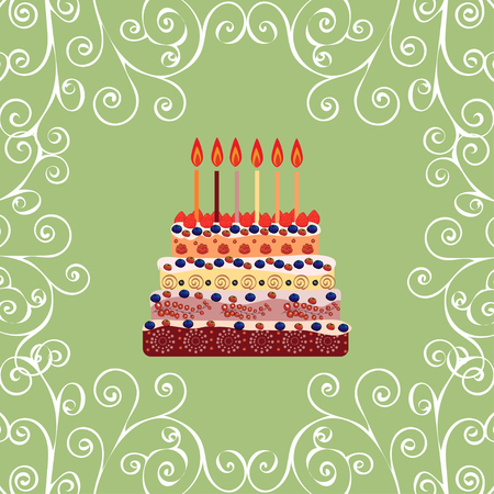 six years: Birthday cake with six candles. Six years. A cake with candles for his birthday. Holidays and celebrations