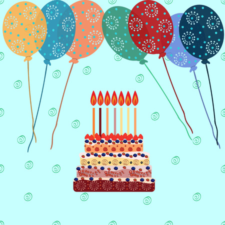seven years: Birthday cake with seven candles. Seven years. A cake with candles for his birthday. Holidays and celebrations. Air balloon.