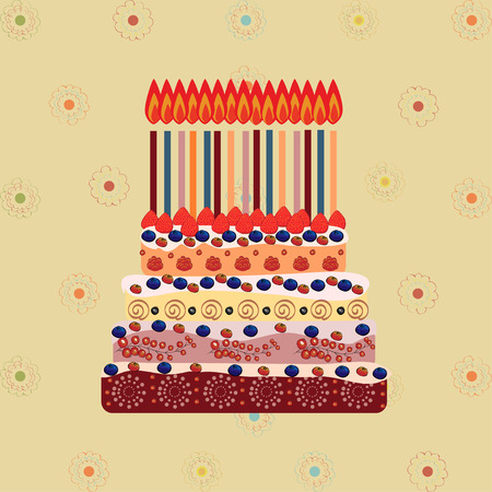 fifteen: Birthday cake with fifteen candles. Fifteen years. A cake with candles for his birthday. Holidays and celebrations