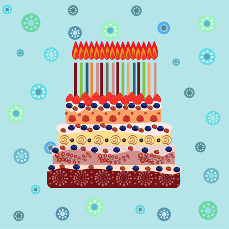 sixteen: Birthday cake with sixteen candles. Sixteen years. A cake with candles for his birthday. Holidays and celebrations