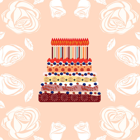 eighteen: Birthday cake with eighteen candles. Eighteen years. A cake with candles for his birthday. Holidays and celebrations