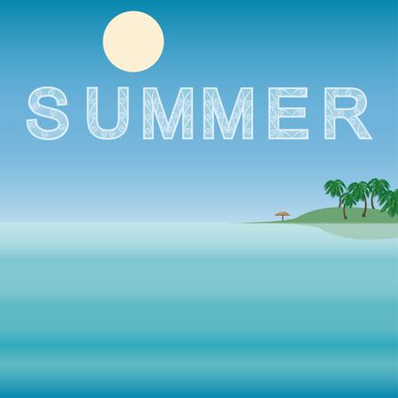 sea horizon: Sea, horizon, nature landscape summer. Tropical travel beach vacation. Vector illustration