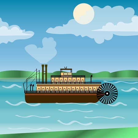 new orleans: Vintage steamboat sailing down Mississippi river. New Orleans. Impeller. history America.