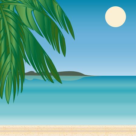 sea horizon: Palm beach horizon Tourism journey on the sea. Beach vacation. Vector illustration