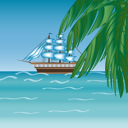 Three masted sailing ship frigate transport. Sea an Ocean cruise. Travel  adventure.