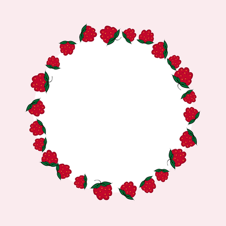 raspberries: Vector hand drawn raspberries label. Raspberries circle menu recipe design. Illustration