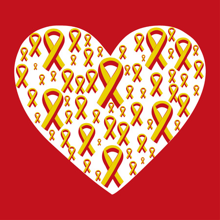 heart intelligence: World Hepatitis Day 28 July yellow red ribbon. Vector illustration world day against hepatitis. Illustration