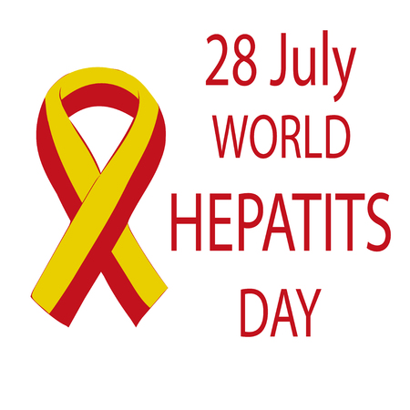liver cells: World Hepatitis Day 28 July yellow red ribbon. Vector illustration world day against hepatitis. Illustration