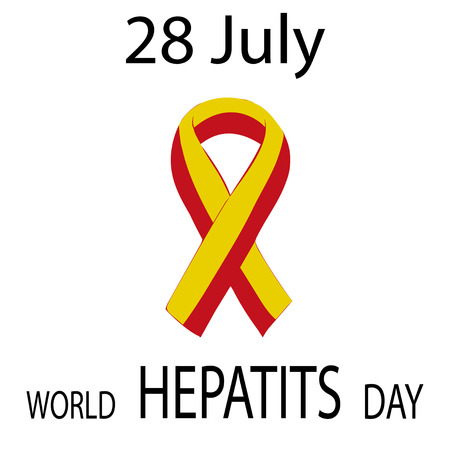 against: World Hepatitis Day 28 July yellow red ribbon. Vector illustration world day against hepatitis. Illustration