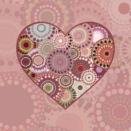 multi colored: Vintage multi colored patterned heart. Vintage background wedding Valentines day