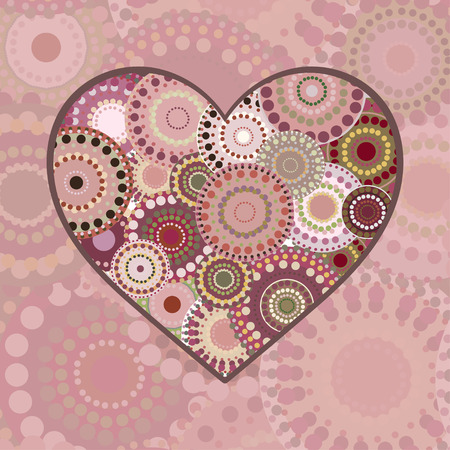 multi colored: Romance multi colored patterned heart. Vintage background wedding Valentines day