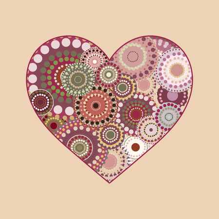 romance: Vector vintage heart greeting card. Vintage background for Valentines Day love romance wedding