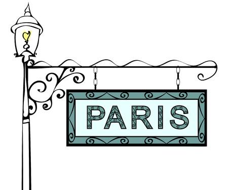 lamppost: Paris retro vintage pointer lamppost. Paris Capital France travel tourism.