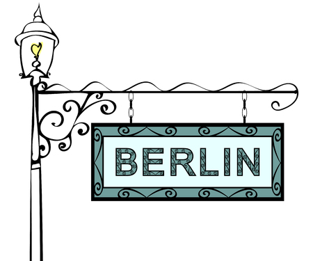 forge: Berlin retro vintage pointer lamppost. Berlin Capital Germany travel tourism.