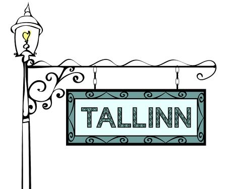 lamppost: Tallinn retro vintage pointer lamppost. Tallinn Capital Estonia travel tourism.