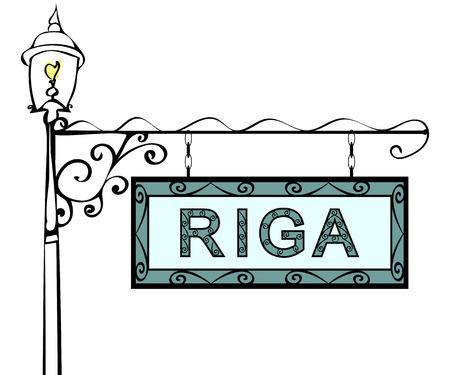 lamppost: Riga retro vintage pointer lamppost. Riga Capital Latvia travel tourism. Illustration