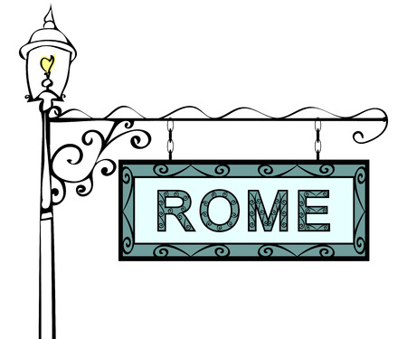 lamppost: Rome retro vintage pointer lamppost. Rome Capital Italy travel tourism.