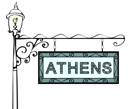 lamppost: Athens retro vintage lamppost pointer. Athens Capital Greece tourism travel. Illustration